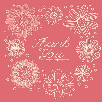 Floral retro thank you note
