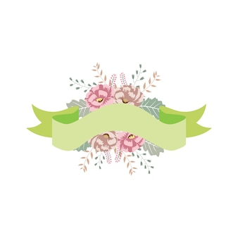 Floral ribbons banner with beautiful flower decoration