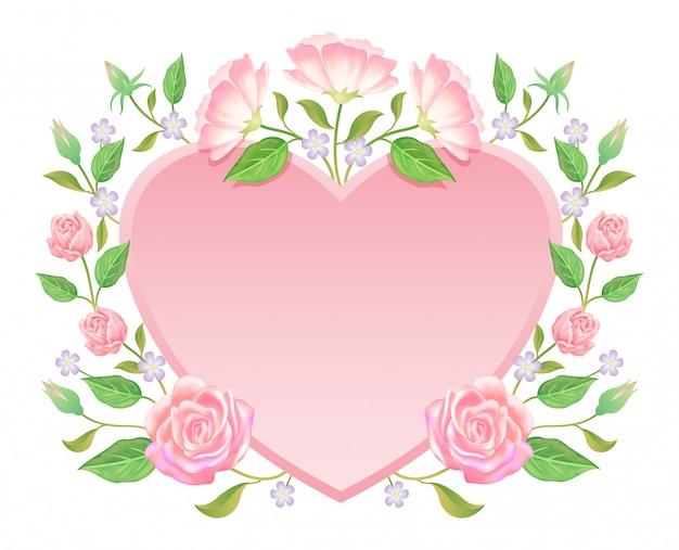 フローラル。バラの花と空白のラベル装飾の葉