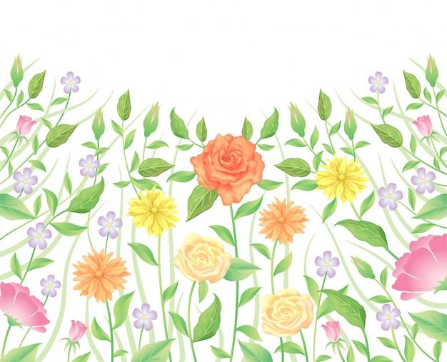 花のバラの花と葉の装飾