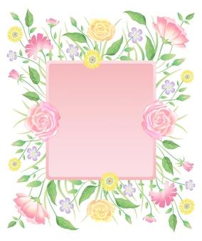 花のバラの花と空白のラベルの装飾と葉