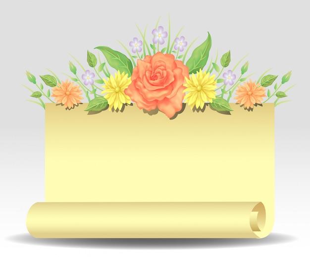 花のバラの花と空白の紙の装飾と葉
