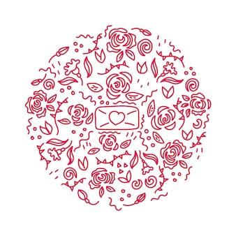 花のバラの愛の手紙落書き飾り刻まれた円バレンタインデー花の植物