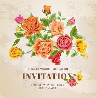 Винтажная открытка с цветочными розами