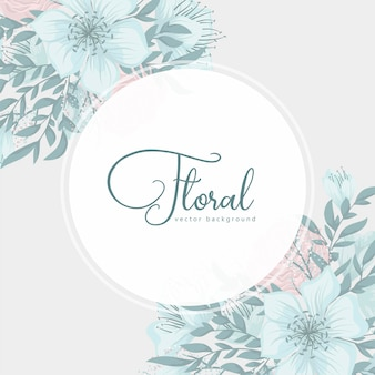 Floral round border with cute flowers