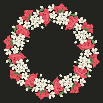 Floral round frame on black background