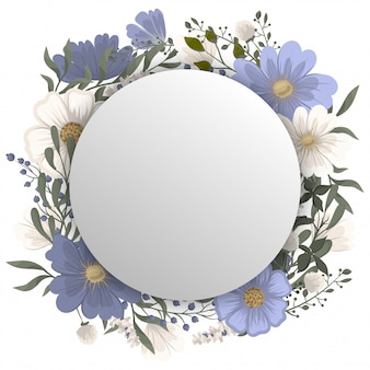 Floral round frame - blue circle frame with flowers