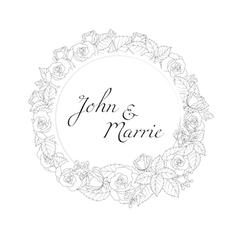 Floral round frame wedding invitation