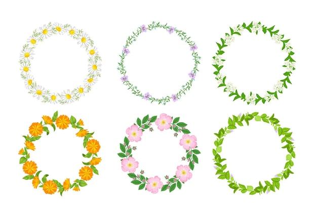 꽃과 허브가 있는 꽃 원형 프레임입니다.