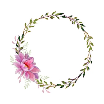 Floral round frame with lilac flower dahlia.