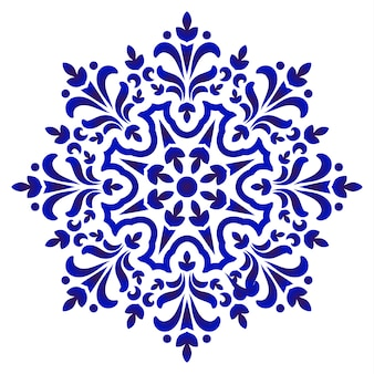 Floral round pattern, circular decorative ceramic ornament, blue and white mandala