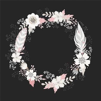 빈티지 boho 스타일에서 꽃 라운드 화 환 프레임입니다.