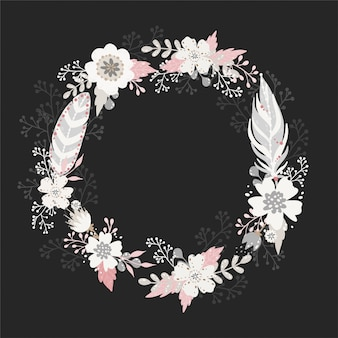 Floral round wreath frame in vintage boho style.