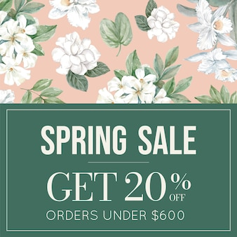 Floral sale banner with frame