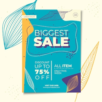 Floral sale flyer or poster template