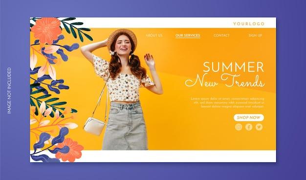 Floral sale landing page with photo hand drawn flowers