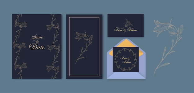 Floral save the date card set