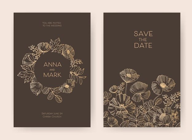 Floral save the date card and wedding invitation templates with blooming garden flowers