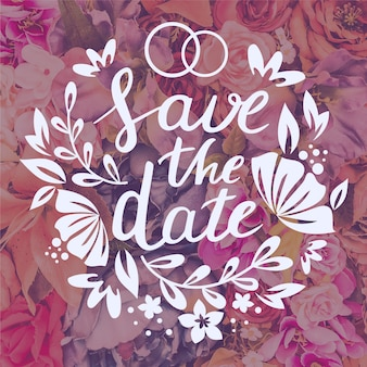 Floral save the date lettering