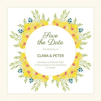 Floral save the date template with watercolor yellow hibiscus