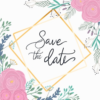 Floral save the date wedding cards with geometric vector design.