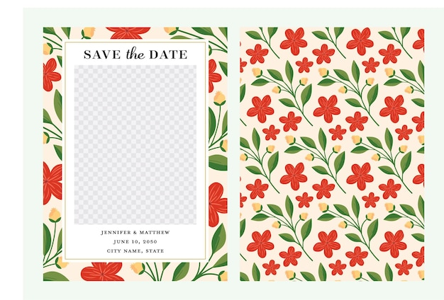 Floral save the date with photo