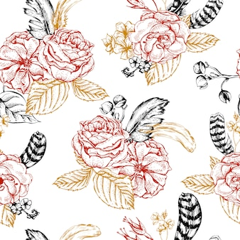 Floral seamless background with roses and feathers