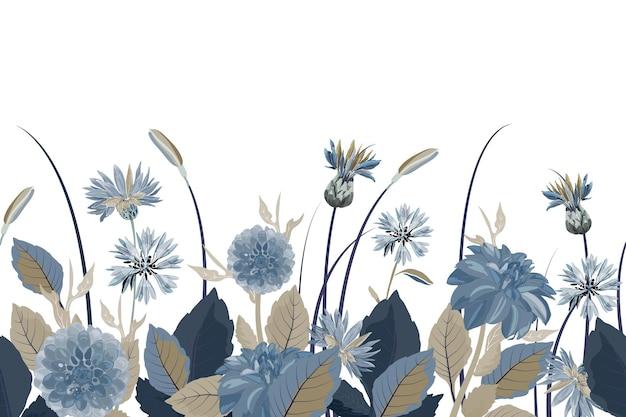 花のシームレスなボーダー。花の背景。青いヤグルマギク、ダリア、アザミの花、青、茶色の葉とのシームレスなパターン。白い背景で隔離の花の要素。