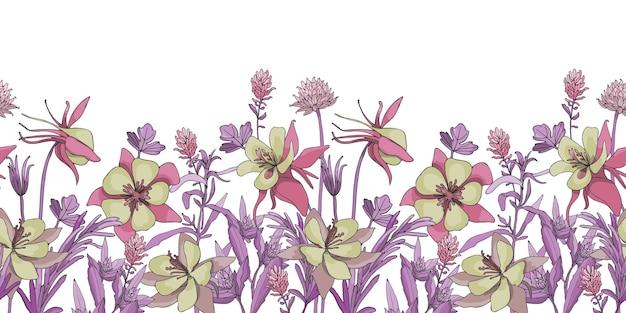 花のシームレスなボーダー花の背景シームレスなパターン