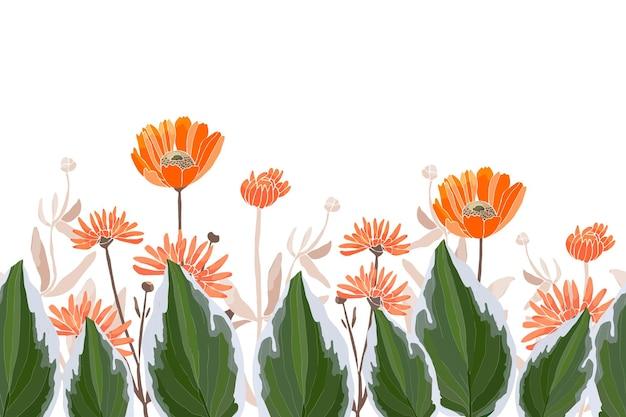 花のシームレスなボーダー、オレンジキンセンカマリーゴールドテンニンギクの花