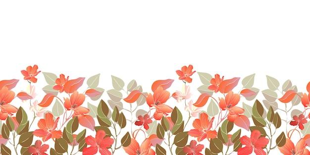花のシームレスなボーダー、パターン。赤い花、緑の葉と装飾的な境界線。白い背景で隔離の花の要素。