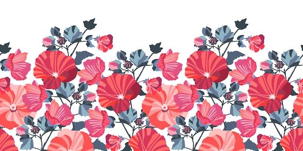 花のシームレスなボーダー。赤、ピンクのゼニアオイの花、青い葉。