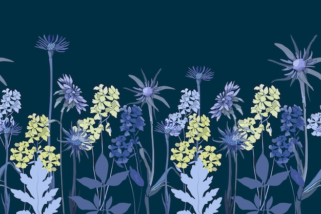Floral seamless border. spring, summer blue, light yellow flowers, stems, leaves, oat root tragopogon in moonlighte isolated on deep blue background.