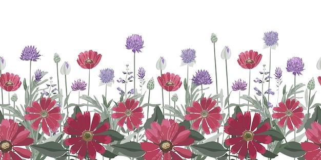 花のシームレスなボーダー。夏の花、ハーブ、葉。テンニンギク、マリーゴールド、フランスギク、ローズマリー、ラベンダー、セージ、ネギ。