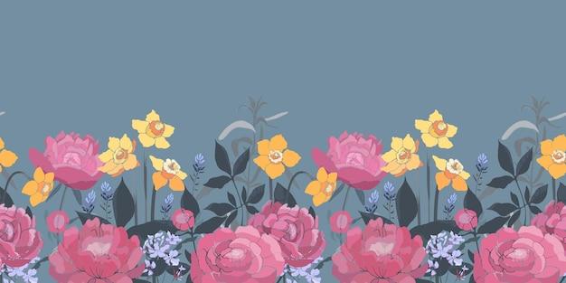 花のシームレスなボーダー。黄色い水仙、ピンクの牡丹、ラベンダー。