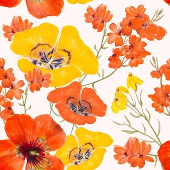 花のシームレスなパターンの背景イラスト、パブリックドメインのアートワークからリミックス