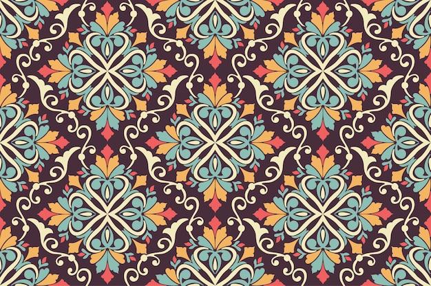 アラビア風のシームレス花柄背景。アラベスク模様。東部民族飾り。背景のエレガントなテクスチャ。
