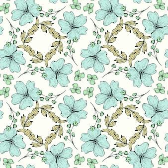 花のシームレスなパターン。柔らかい色のプリント、ファブリック、テキスタイル、壁紙用の枝、葉、花の美しい植物の繰り返しテクスチャ。線画風の手描きインクイラスト。