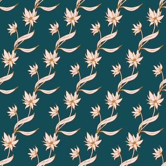 꽃 완벽 한 패턴입니다. 부드러운 색상의 인쇄, 직물, 직물, 벽지를 위한 나뭇가지, 잎, 꽃이 있는 아름다운 식물 반복 질감. 라인 아트 스타일의 손으로 그린 잉크 그림.