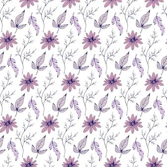 꽃 원활한 패턴 나뭇가지 잎과 꽃으로 아름 다운 식물 반복 텍스처