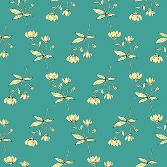 꽃 완벽 한 패턴입니다. 나뭇가지, 잎, 꽃이 있는 아름다운 식물 반복 질감