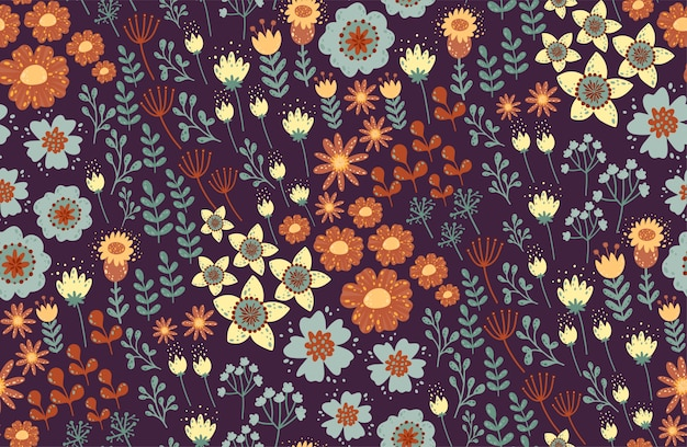 Floral seamless pattern. beautiful herbs and flowers, floral