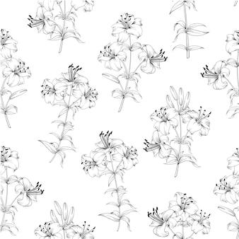 シームレスな花柄。白い背景に咲くユリ。