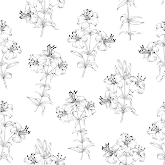 Floral seamless pattern. blooming lilies on white background.