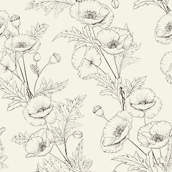 Floral seamless pattern. blooming poppy on beige background.