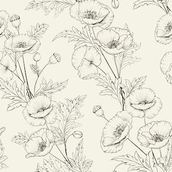 꽃의 완벽 한 패턴입니다. 베이지 색 배경에 피 양 귀 비.