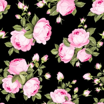 Floral seamless pattern. blooming roses on black background.
