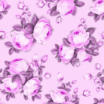 シームレスな花柄。ピンクの背景に咲くバラ。