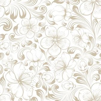 シームレスな花柄。白い背景に咲く桜。