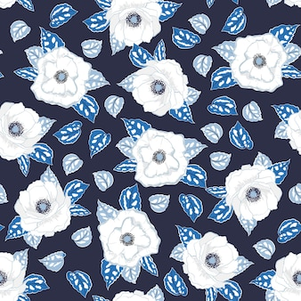 Floral seamless pattern blooming white flowers.